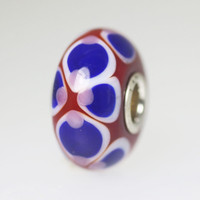 Red Opaque Bead With Blue Designs