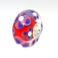 Red Base Bead With Flowers