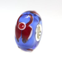 Blue Bead With Red Designs