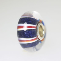 Red, White & Blue Stripe Bead