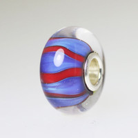 Red and Blue Stripe Bead