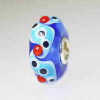 Blue Bead With Red Buds