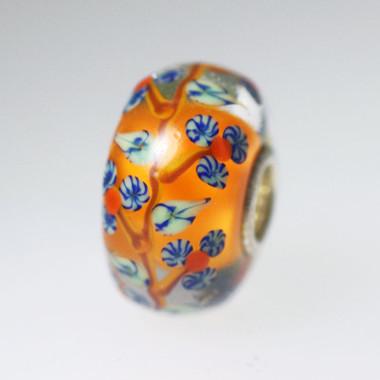 Orange Vine Flower Bead