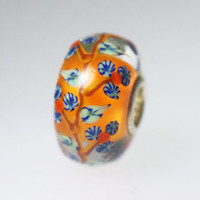 Orange Vine Flower Bead