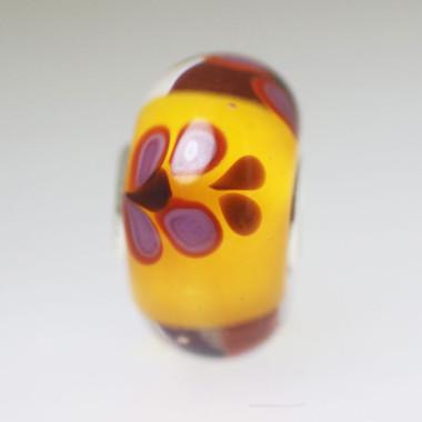 Orange Bead With Purple Butterflies