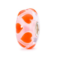 Trollbeads Orange Hearts  On a Pink Base.