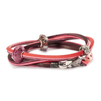 Leather Bracelet, Red/Bordeaux