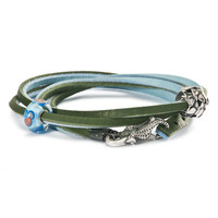 Leather Bracelet, Light Blue/Green