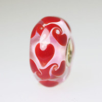 Red Hearts On Pink Bead
