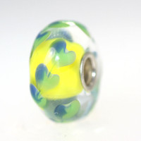 Yellow Based Heart Bead