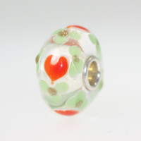 Heart Unique Bead With Light Green Flowers