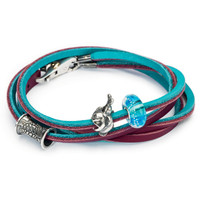 Trollbeads Leather Bracelet Turquoise and Plum