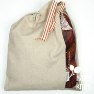 Peek-a-boo bag by Inkbags - Natural with Red Ribbon