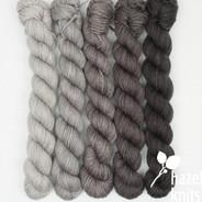High Five Ombre' Set - Birches - 5 quarter skeins Artisan Sock