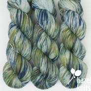 OOAK Olive and Navy over light green-blue base Artisan Sock