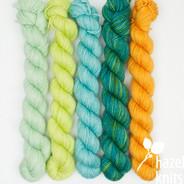 High Five Set #9 - 5 quarter skeins, Artisan Sock