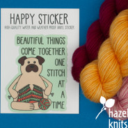 Knitting Pug - Vinyl Sticker, Water and Weatherproof