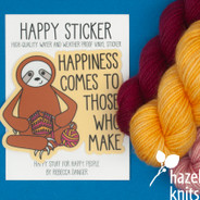 Knitting  Sloth - Vinyl Sticker, Water and Weatherproof