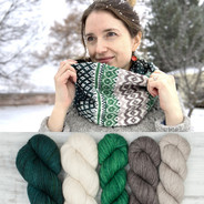 Pineleaf Cowl Kit - green + warm neutrals (pattern not included)