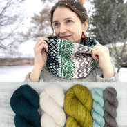 Pineleaf Cowl Kit - green2 + warm neutrals