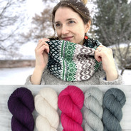 Pineleaf Cowl Kit - purple/pink + cool neutrals (pattern not included)