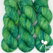 OOAK - bright kelly green over yellow Artisan Sock