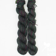 OOAK dark greens/purples Artisan Sock - 100+ yard mini