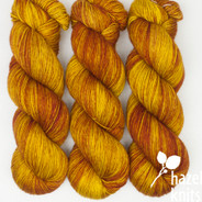 OOAK (one of a kind) green-gold and brickish rusty red Artisan Sock