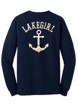 Lakegirl Gold Anchor Long Sleeve Tee