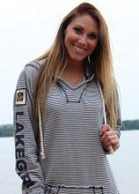 Lakegirl Navy Weekender striped Hoodie sweatshirt