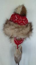 Trapper Fur Hat - Red/Tan
