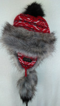 Trapper Fur Hat - Red/Grey
