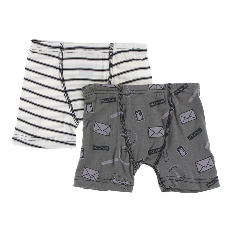 aaeb6b9ea4b0 Kickee Pants Boxer Briefs (Set of 2), Neutral Parisian Stripe & Par Avion
