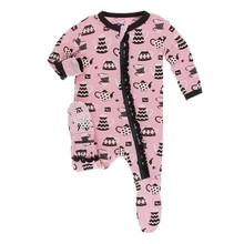 Kickee Pants Muffin Ruffle Footie w/Zipper, Teatime - Size 0-3 Months