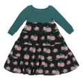 Kickee Pants Long Sleeve Tiered Dress, English Rose Garden - Size 3T