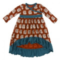 Kickee Pants Long Sleeve HiLo Maxi Dress, Lucky Cat - Size 4T