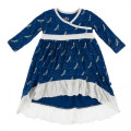 Kickee Pants Long Sleeve HiLo Maxi Dress, Navy Dragonfly - Size 3T