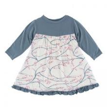 KicKee Pants Long Sleeve Swing Dress, Natural Japanese Cherry Tree - Size S(6/8)