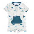 Kickee Pants Kangaroo Romper, Natural Manta Ray
