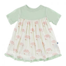 KicKee Pants Short Sleeve Swing Dress (Natural Lotus Flower - 4T)