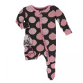 Kickee Pants Layette Classic Ruffle Footie w/ Zipper, Zebra Pomegranate - Size 3-6 Month