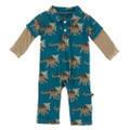 Kickee Pants Long Sleeve Double Layer Polo Romper, Heritage Blue Kosmoceratops
