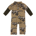 Kickee Pants Long Sleeve Double Layer Polo Romper, Tannin T-Rex Dig - Size 12-18 Months