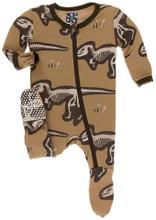 Kickee Pants Footie w/Zipper, Tannin T-Rex