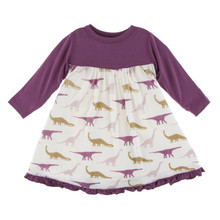 KicKee Pants Long Sleeve Swing Dress, Nautral Sauropods - Size 12-18 Months