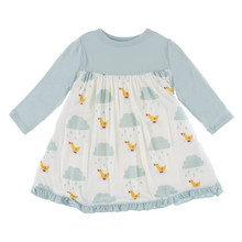 Kickee Pants Long Sleeve Swing Dress, Natural Puddle Duck - Size 2T