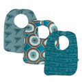 Kickee Pants Bibs (Set of 3), Dusty Sky Happy Tornado, Heritage Blue Agate Slices, Heritage Blue Wind