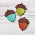Acorns with Glitter Magnets, Set of 3