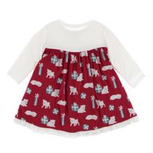Kickee Pants Long Sleeve Swing Dress, Crimson Puppies & Presents