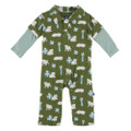 Kickee Pants Long Sleeve Double Layer Polo Romper, Moss Puppies & Presents - Size 18-24 Months